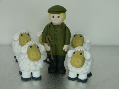 Farmer & 4 Sheep Cake Toppers